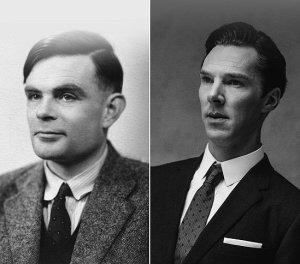 Left, the real Alan Turing; right, Cumberbatch
