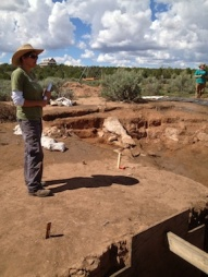 Archaeologist from Crow Canyon at Indian Camp Ranch dig iste